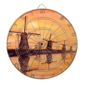 Windmühlen-Sonnenuntergang - Aquarell-Malerei Dartscheibe