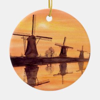 Windmühlen-Sonnenuntergang - Aquarell-Malerei Keramik Ornament
