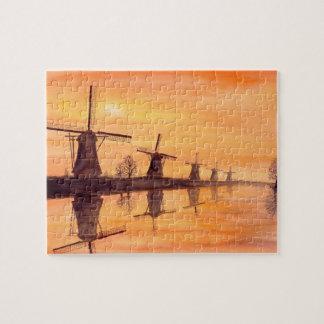 Windmühlen-Sonnenuntergang-Aquarell-Malerei Puzzle
