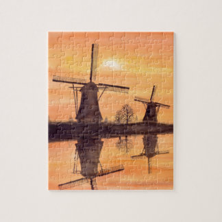 Windmühlen-Sonnenuntergang - Aquarell-Malerei Puzzle