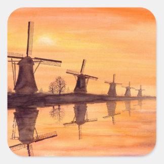 Windmühlen-Sonnenuntergang - Aquarell-Malerei Quadratischer Aufkleber