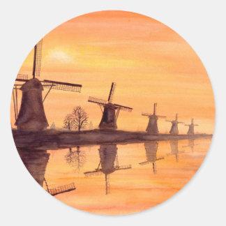 Windmühlen-Sonnenuntergang - Aquarell-Malerei Runder Aufkleber