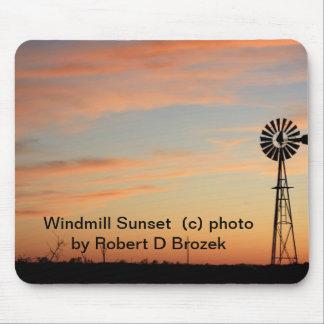 Windmühlen-Sonnenuntergang MAUSUNTERLAGE Mauspads