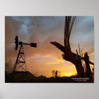 Windmühlesaguaro-Kaktus-Skeleton Poster