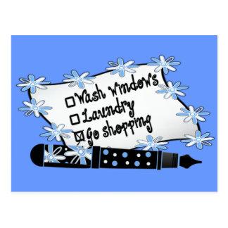 Windows, Wäscherei oder Einkaufen! Postkarte