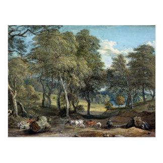 Windsor Wald mit den Ochsen, die Bauholz, 1798 Postkarte