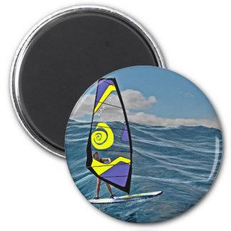 Windsurfer-Reiten auf dem Wasser Runder Magnet 5,1 Cm