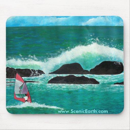 Windsurfing in Hawaii-Ozean Mousepad Kunstmalerei