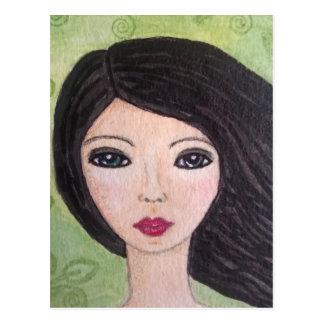 Windswept Mädchenpostkarte Postkarte