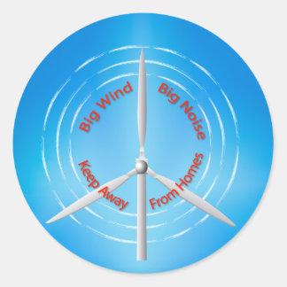 Windturbine Protest Runder Aufkleber