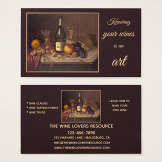 Wine Still Life Art Classes Events Business Card Visitenkarte