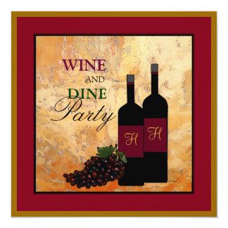 Wine und speisen Sie Party Quadratische 13,3 Cm Einladungskarte
