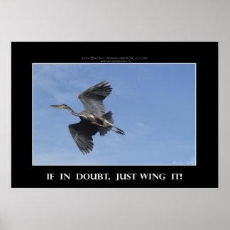 WING ES! Fliegendes blauer Reiher-motivierend Poster