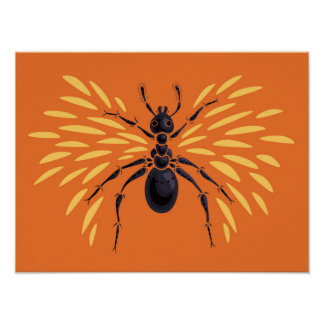 Winged Ameisen-Insekten-Liebhaber-brennende orange Poster