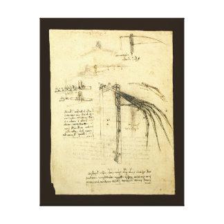 Winged Flugmaschine-Skizze durch Leonardo da Vinci Leinwanddruck