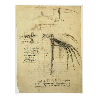 Winged Flugmaschine-Skizze durch Leonardo da Vinci Poster