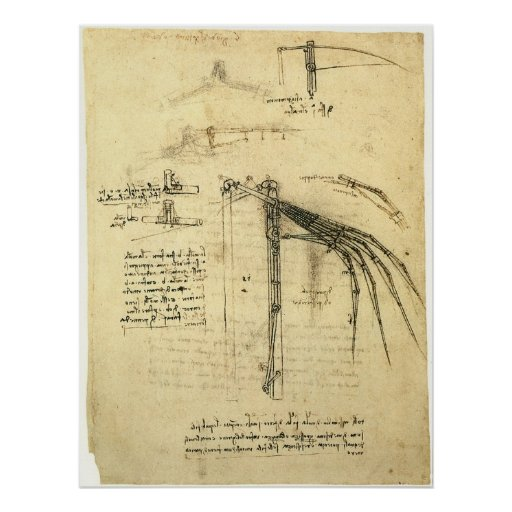 Winged Flugmaschine-Skizze durch Leonardo da Vinci Plakate