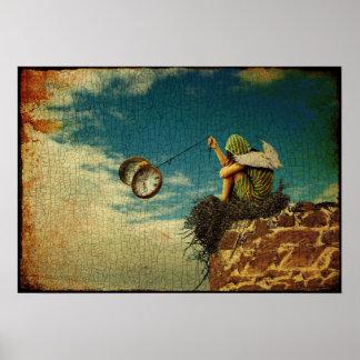 Winged Kind, das mit Taschenuhr spielt Poster