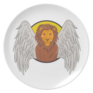 Winged Löwe-Kopf-Kreis-Zeichnen Melaminteller
