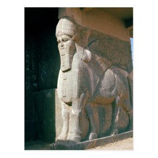 Winged menschlich-köpfiger Stier, Neo-Assyrian Postkarte
