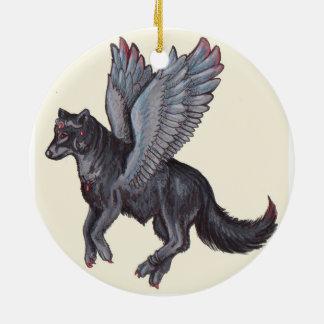 Winged Wolf Keramik Ornament