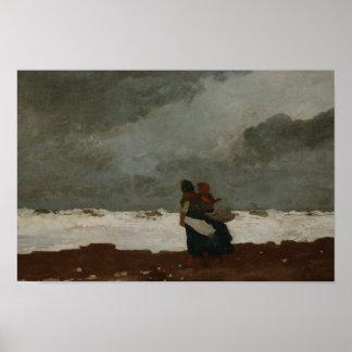Winslow Homer - zwei Zahlen durch das Meer Poster