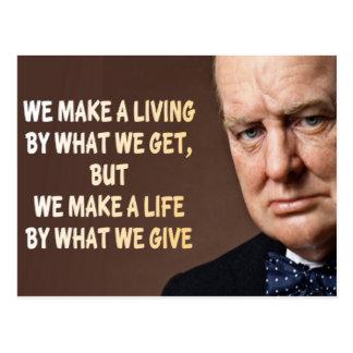 Winston Churchill machen wir ein Leben Postkarte