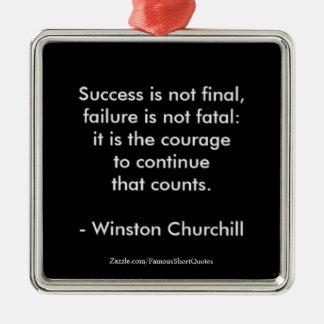 Winston- Churchillzitat; Erfolg Silbernes Ornament