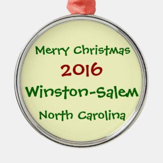 WINSTON-SALEM NORTH CAROLINA-WEIHNACHTSverzierung Rundes Silberfarbenes Ornament