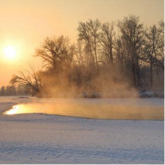 Winter-Abend durch den gefrorenen See Fotoskulptur Ornament