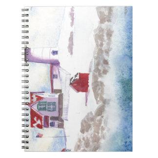 Winter am Klumpen-Leuchtturm in Maine Notizblock