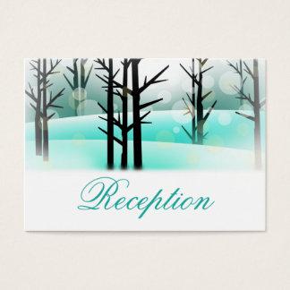 Winter-Aqua-Waldbäume, die Empfangs-Karten Wedding Visitenkarte