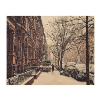 Winter auf Upper West Side Holzdruck