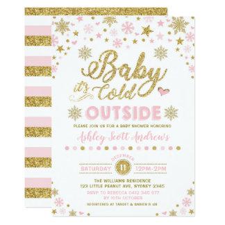 Winter-Babyparty-Einladungs-Rosa-Goldschneeflocke Karte