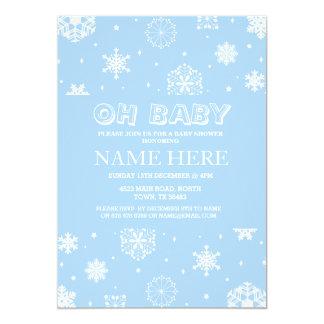 Winter-Babyparty-Jungen-blaue Schneeflocke laden 12,7 X 17,8 Cm Einladungskarte