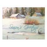 WINTER-BAUERNHOF u. TEICH durch SHARON SHARPE Postkarte