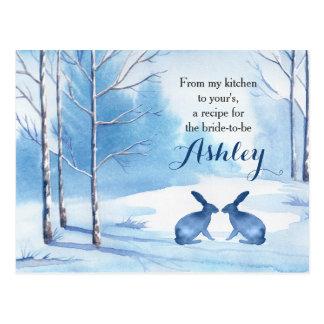 Winter-Baum-blaue weiße Duschen-Rezept-Karte Postkarte