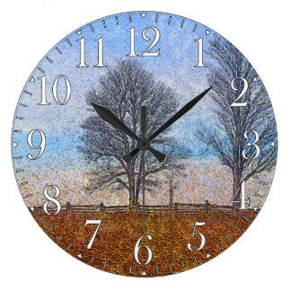 Winter-Baum-u. Bauernhof-Zaun-Weiden-Kunst Große Wanduhr