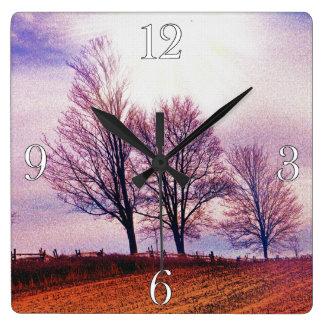 Winter-Baum-u. Bauernhof-Zaun-Weiden-Kunst Quadratische Wanduhr