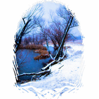 Winter-Bäume und Teich Fotoskulptur Schlüsselanhänger