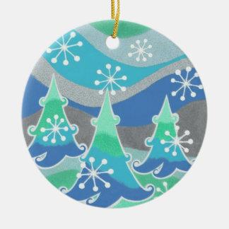 Winter-Baumverzierung rund Rundes Keramik Ornament