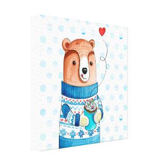 """Winter Bear"" Canvas Wall Art for you Nursery Room Leinwanddruck"