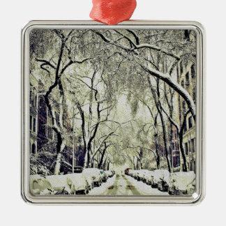 Winter bedeckte Straßen Silbernes Ornament
