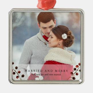 Winter-Beeren verheiratet und fröhliche Silbernes Ornament