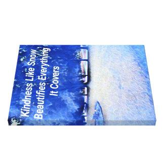 Winter-blaues weißes inspirierend Güte-Zitat Leinwanddruck
