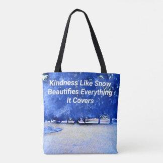 Winter-blaues weißes inspirierend Güte-Zitat Tasche