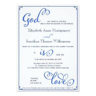 Winter-Blues-Gott ist Liebe-Wedding Einladung