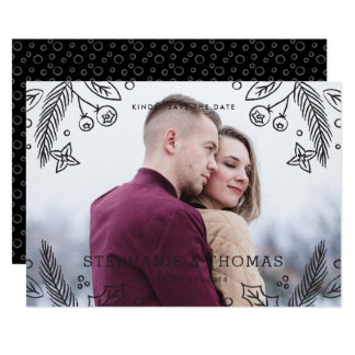 Winter blühen Save the Date Karte - Onyx 12,7 X 17,8 Cm Einladungskarte