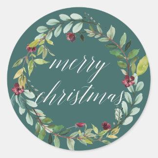 Winter blüht | frohe Weihnachten Runder Aufkleber