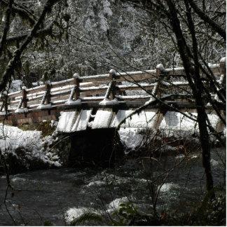 Winter-Brücke Freistehende Fotoskulptur